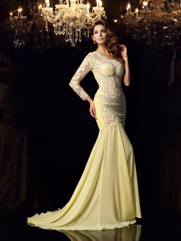 Mermaid Chiffon One-Shoulder Long Sleeves Chapel Train With Applique Dresses
