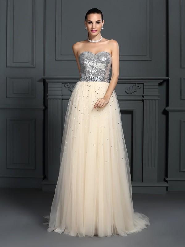 A-Line Lace Sweetheart Sleeveless Floor-Length With Beading Dresses