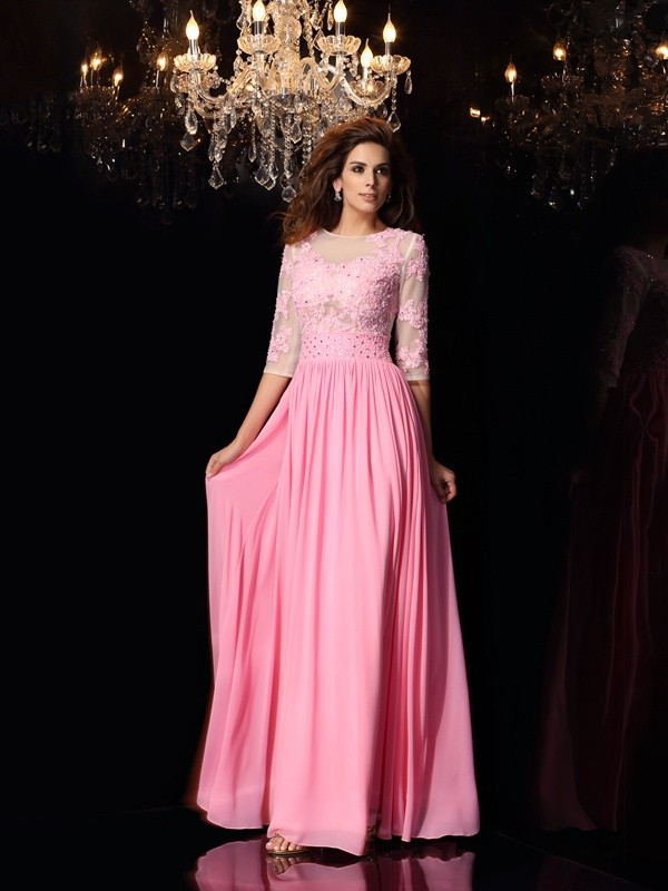 A-Line Silk like Satin Scoop 1/2 Sleeves Floor-Length With Applique Dresses