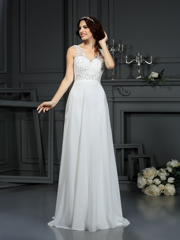 A-Line Chiffon V-neck Sleeveless Sweep/Brush Train With Lace Wedding Dresses