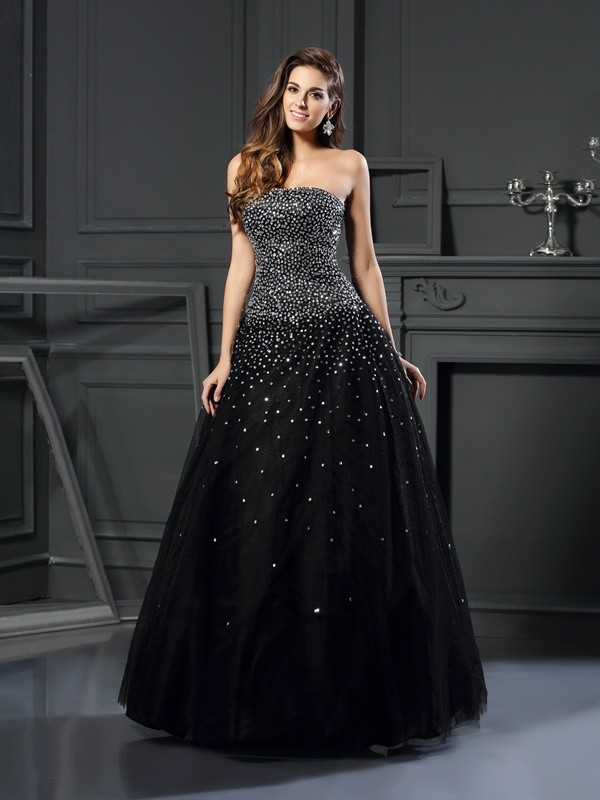 Ball Gown Satin Strapless Sleeveless Floor-Length With Beading Quinceanera Dresses