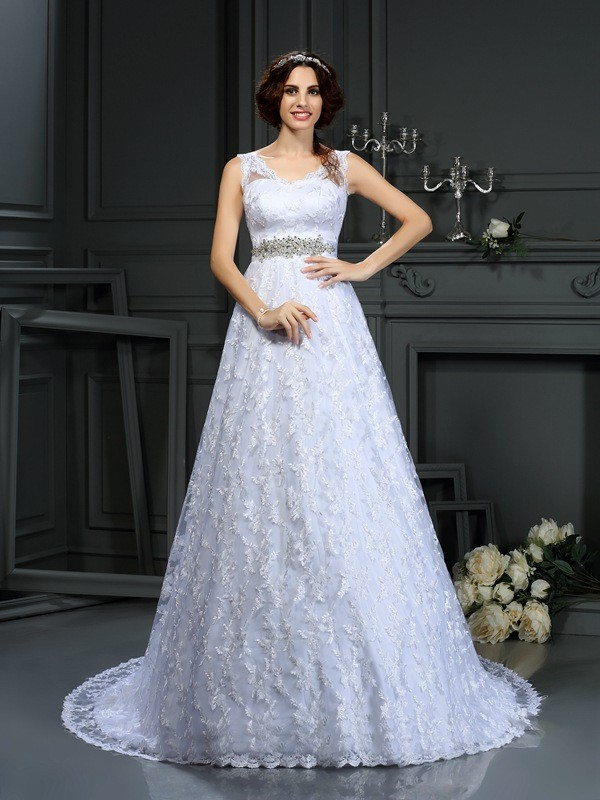 A-Line Satin V-neck Sleeveless Court Train With Lace Wedding Dresses