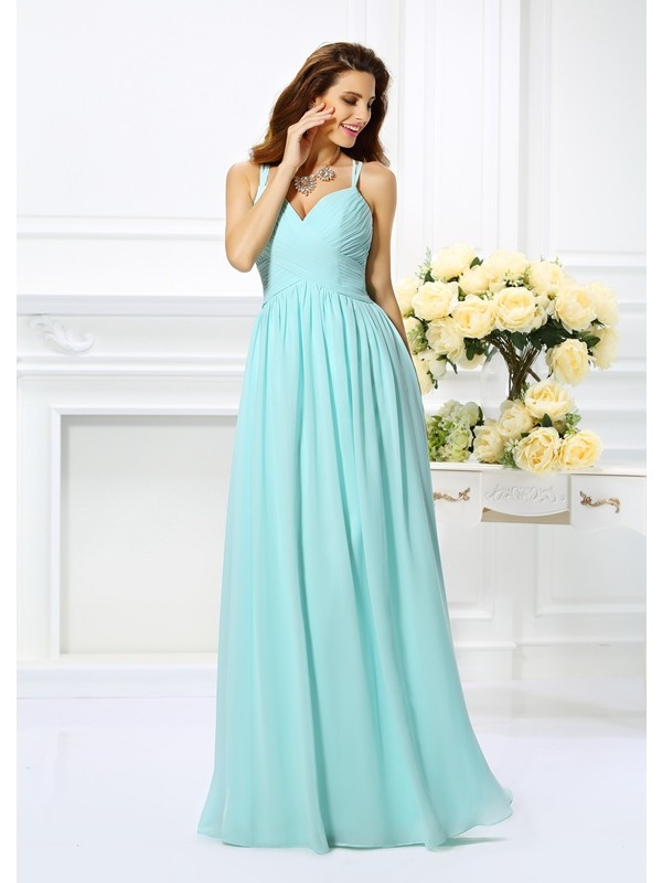 A-Line Chiffon Spaghetti Straps Sleeveless Floor-Length With Pleats Dresses