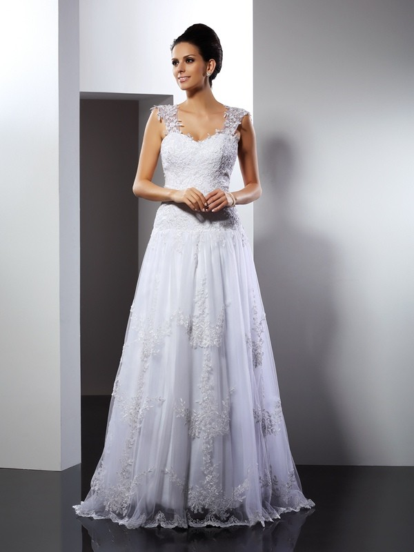 A-Line Lace Straps Sleeveless Court Train With Applique Wedding Dresses
