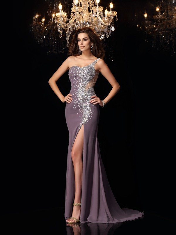 Mermaid Chiffon One-Shoulder Sleeveless Sweep/Brush Train With Rhinestone Dresses