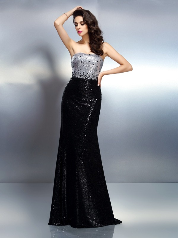 Mermaid Sequins Strapless Sleeveless Sweep/Brush Train With Sequin Dresses