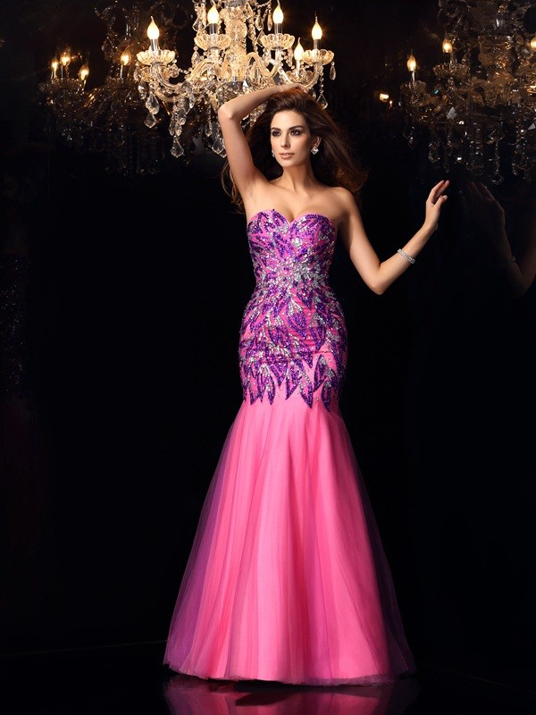 Mermaid Net Sweetheart Sleeveless Floor-Length With Beading Dresses
