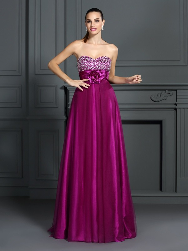 A-Line Elastic Woven Satin Sweetheart Sleeveless Floor-Length With Hand-Made Flower Dresses