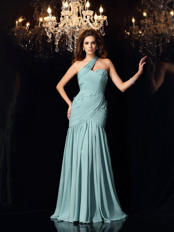 Mermaid Chiffon One-Shoulder Sleeveless Sweep/Brush Train With Ruched Dresses