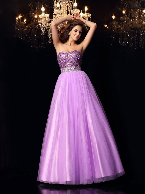 Ball Gown Elastic Woven Satin Sweetheart Sleeveless Floor-Length With Sequin Quinceanera Dresses