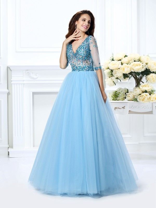 Ball Gown Satin V-neck 1/2 Sleeves Floor-Length With Beading Quinceanera Dresses