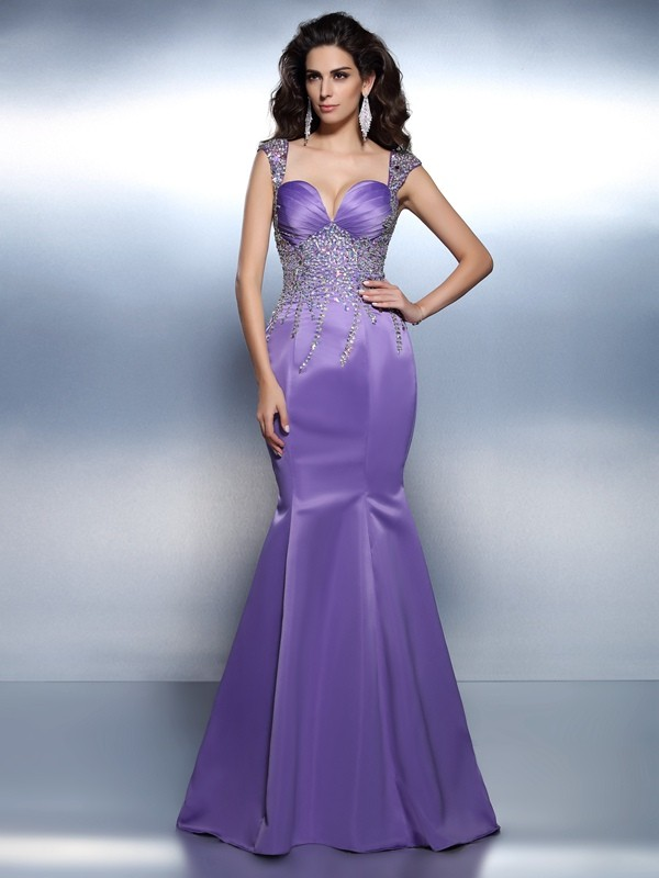 Mermaid Satin Sweetheart Sleeveless Sweep/Brush Train With Beading Dresses