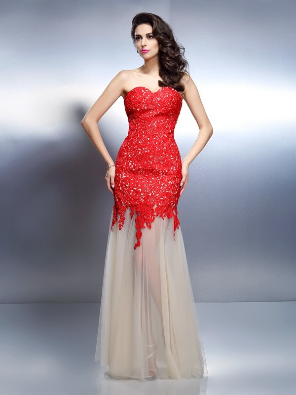 A-Line Net Sweetheart Sleeveless Floor-Length With Applique Dresses