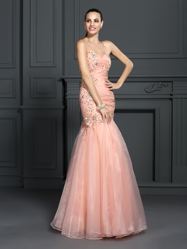 Mermaid Organza Sweetheart Sleeveless Floor-Length With Applique Dresses