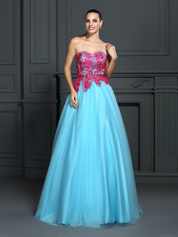 Ball Gown Satin Sweetheart Sleeveless Floor-Length With Lace Quinceanera Dresses