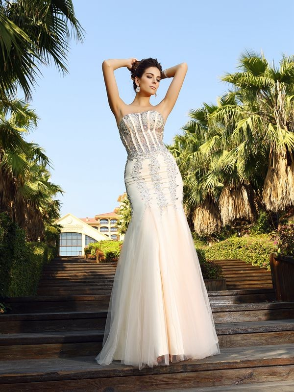 Mermaid Satin Strapless Sleeveless Floor-Length With Beading Dresses
