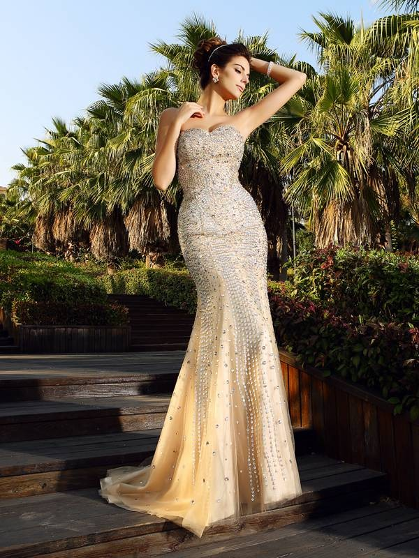 Mermaid Satin Sweetheart Sleeveless Court Train With Beading Dresses