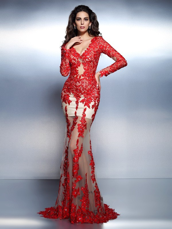 Mermaid Lace V-neck Long Sleeves Sweep/Brush Train With Applique Dresses