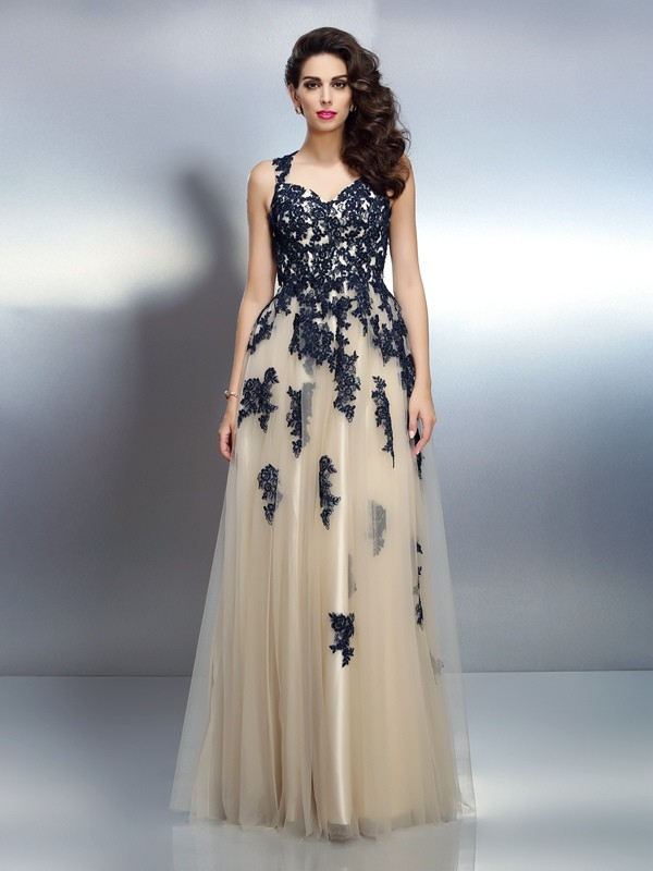 A-Line Elastic Woven Satin Straps Sleeveless Floor-Length With Applique Dresses