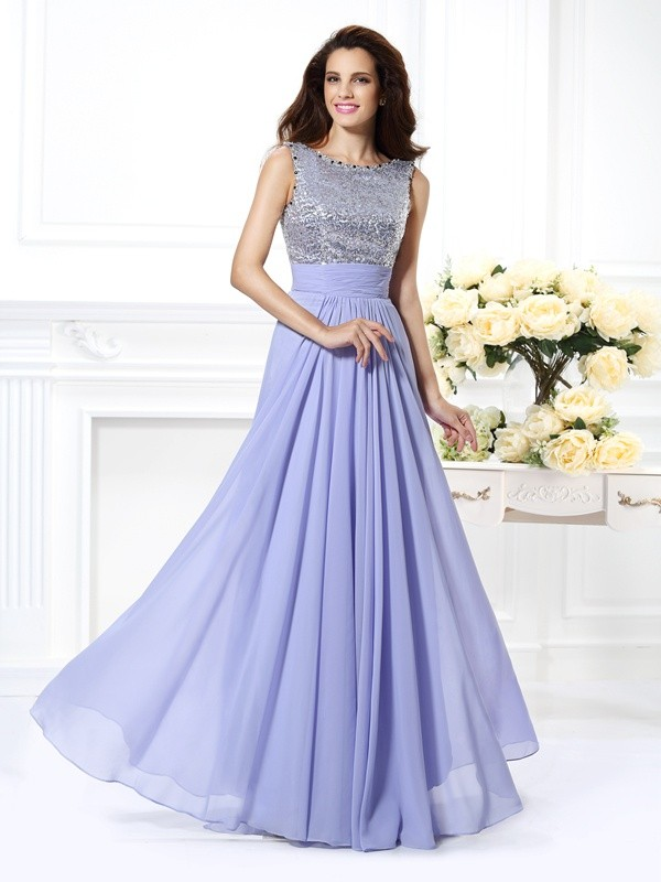 A-Line Chiffon Bateau Sleeveless Floor-Length With Lace Dresses
