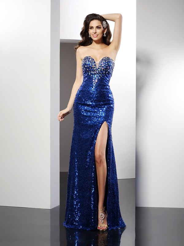 Sheath Sequins Sweetheart Sleeveless Floor-Length With Sequin Dresses
