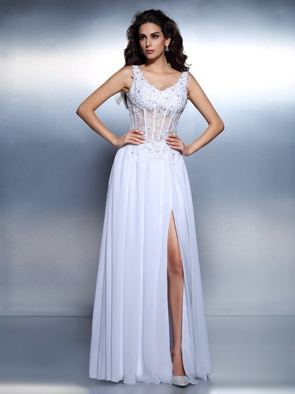 A-Line Chiffon Scoop Sleeveless Floor-Length With Applique Dresses