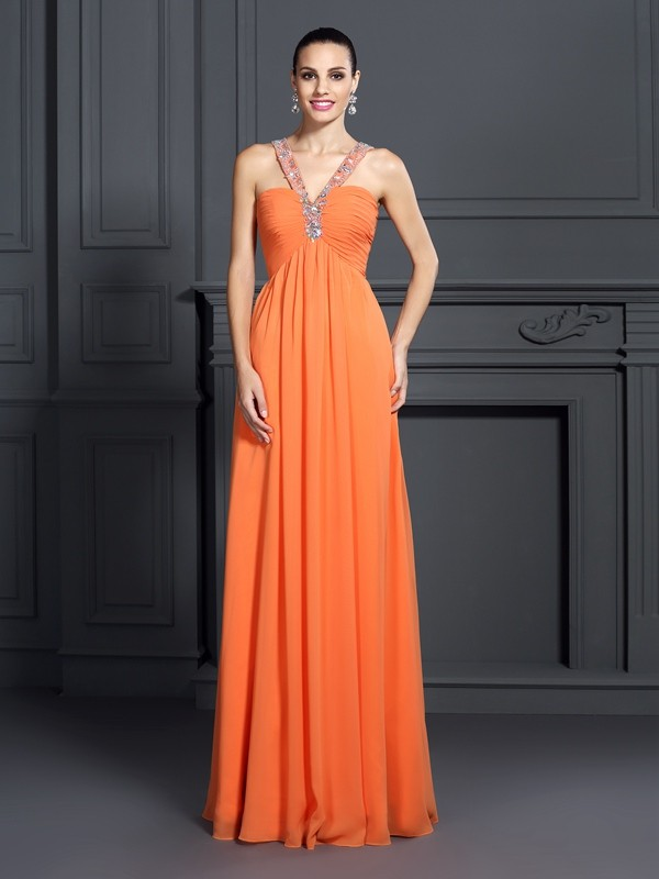 A-Line Chiffon Halter Sleeveless Floor-Length With Beading Dresses