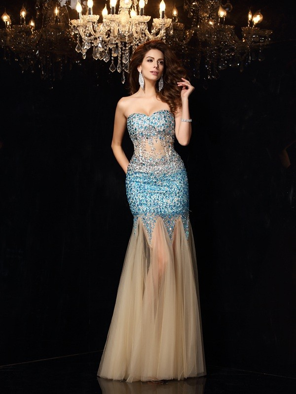 Sheath Net Sweetheart Sleeveless Floor-Length With Beading Dresses