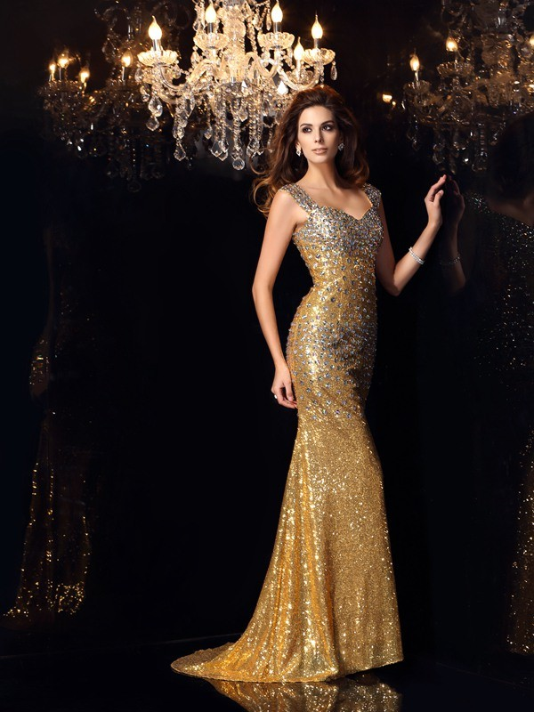 Mermaid Sequins Straps Sleeveless Floor-Length With Rhinestone Dresses