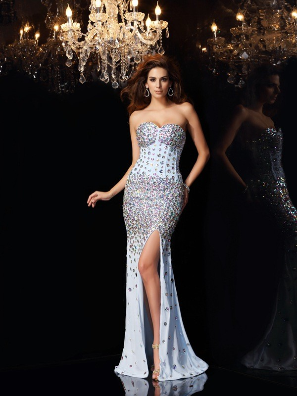 Mermaid Chiffon Sweetheart Sleeveless Sweep/Brush Train With Rhinestone Dresses