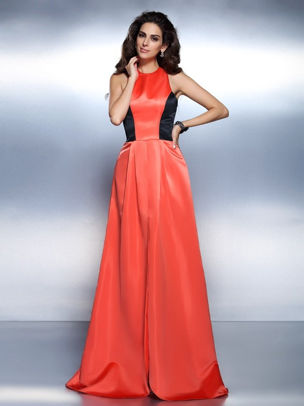 A-Line Satin High Neck Sleeveless Floor-Length With Ruffles Dresses