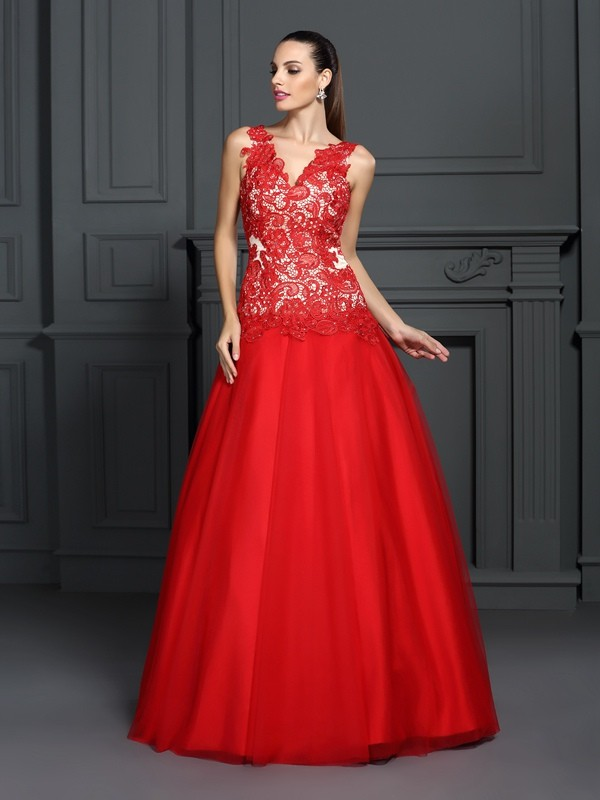 Ball Gown Lace V-neck Sleeveless Floor-Length With Lace Quinceanera Dresses