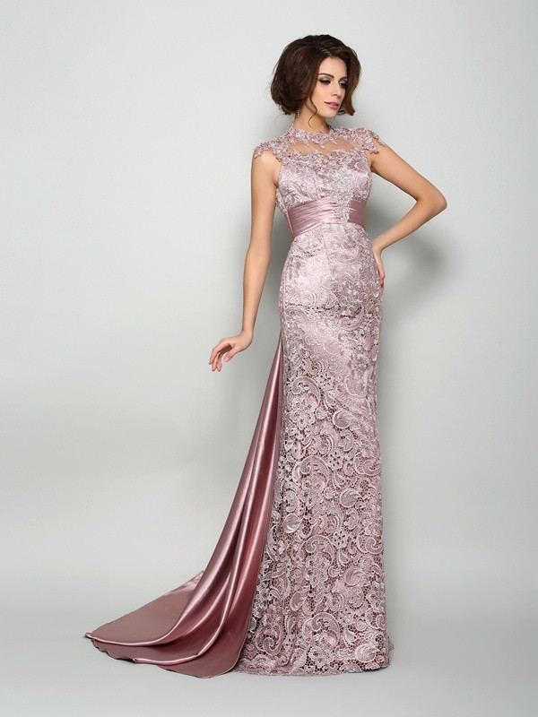 A-Line Elastic Woven Satin High Neck Sleeveless Court Train With Lace Mother of the Bride Dresses