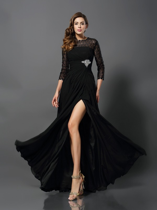 A-Line Lace Bateau 3/4 Sleeves Floor-Length With Beading Dresses