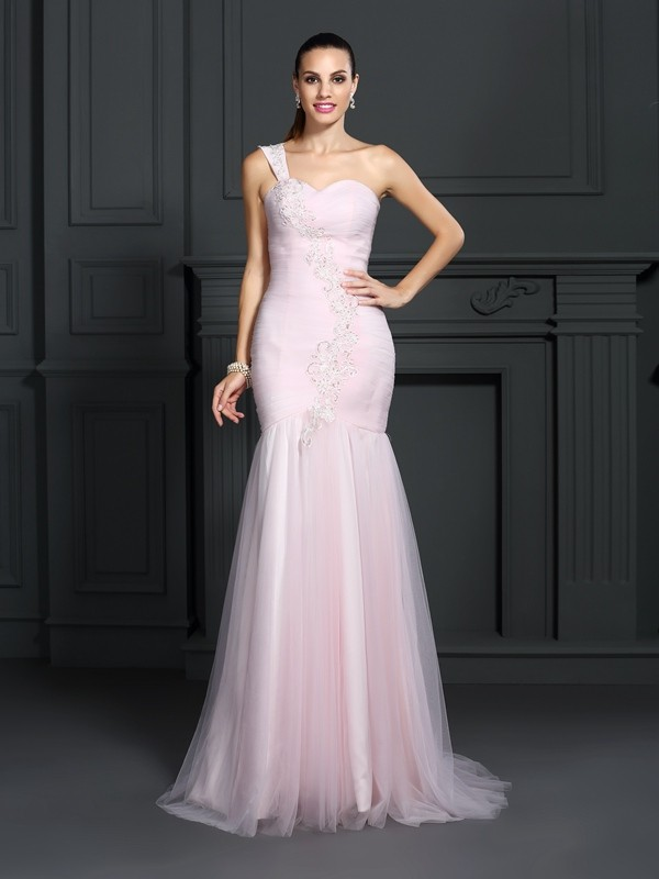 Mermaid Satin One-Shoulder Sleeveless Sweep/Brush Train With Lace Dresses