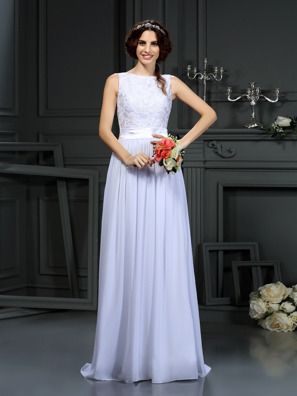 A-Line Chiffon Scoop Sleeveless Floor-Length With Lace Wedding Dresses