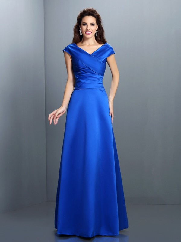 A-Line Satin V-neck Sleeveless Floor-Length With Ruched Dresses