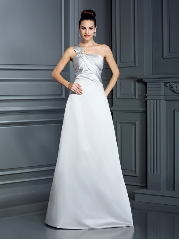 A-Line Satin One-Shoulder Sleeveless Floor-Length With Ruched Dresses