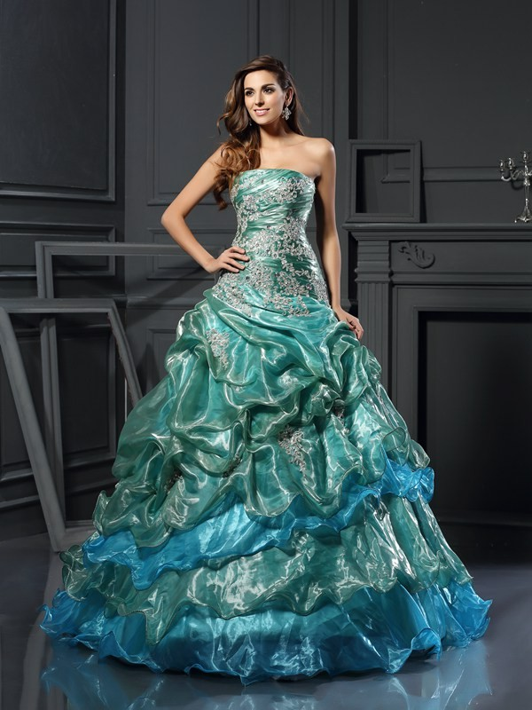 Ball Gown Tulle Sweetheart Sleeveless Floor-Length With Applique Quinceanera Dresses