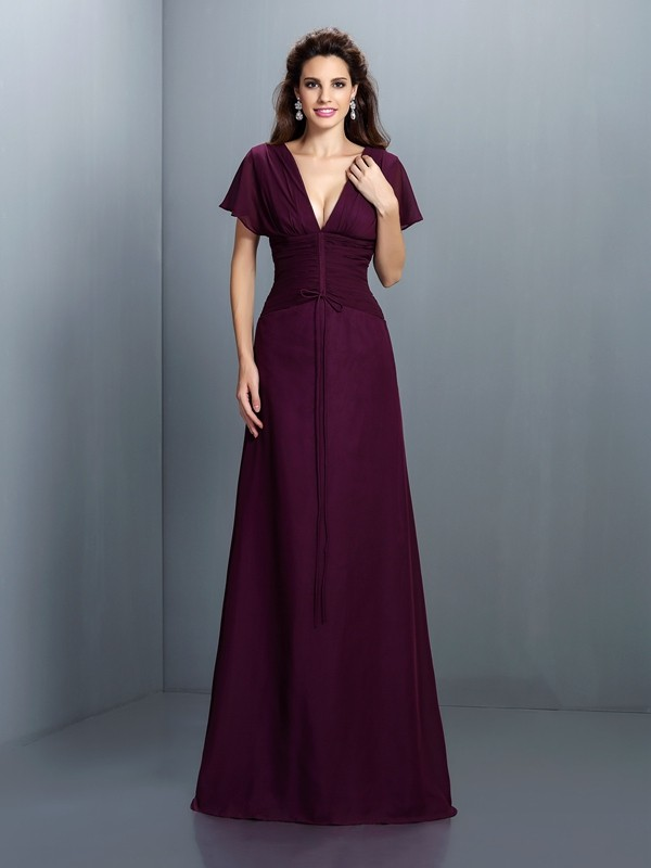 A-Line Chiffon V-neck Short Sleeves Floor-Length With Ruched Dresses