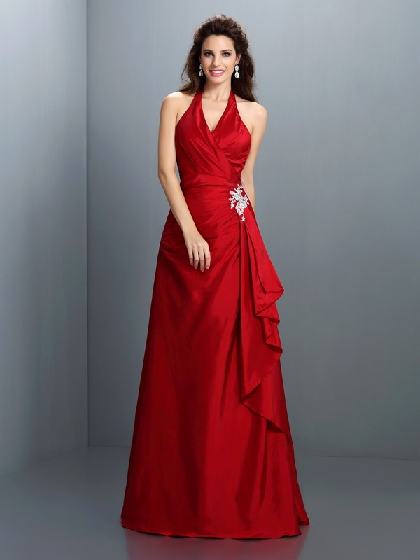 A-Line Taffeta Halter Sleeveless Floor-Length With Beading Dresses