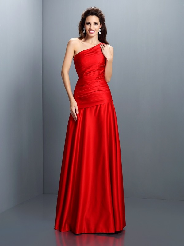 A-Line Satin One-Shoulder Sleeveless Floor-Length With Pleats Dresses