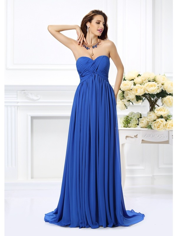 A-Line Chiffon Sweetheart Sleeveless Chapel Train With Ruched Dresses