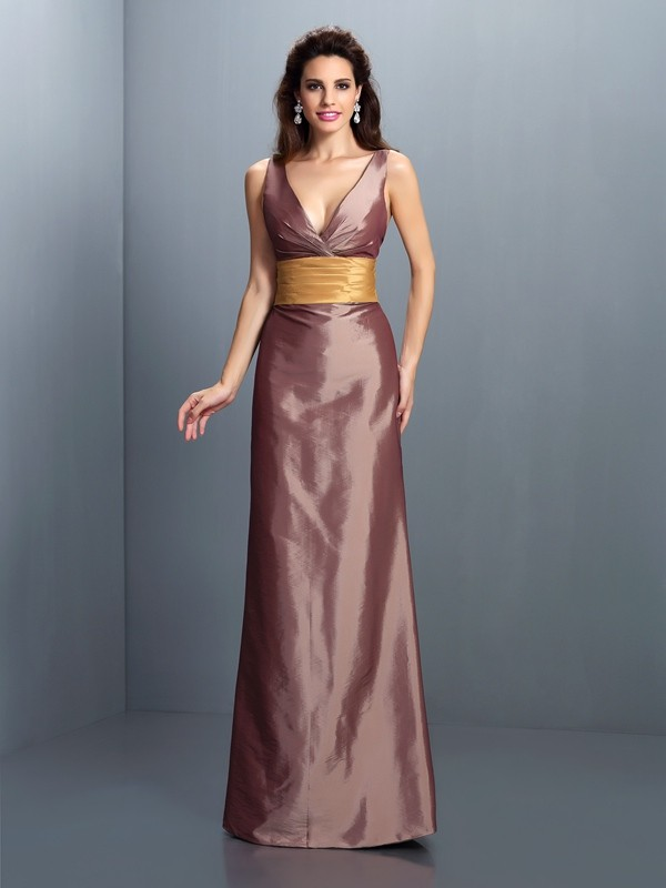 Sheath Taffeta V-neck Sleeveless Floor-Length With Pleats Dresses