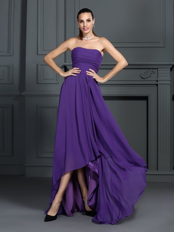 A-Line Chiffon Strapless Sleeveless Asymmetrical With Pleats Dresses