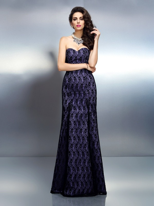 Mermaid Satin Sweetheart Sleeveless Floor-Length With Lace Dresses