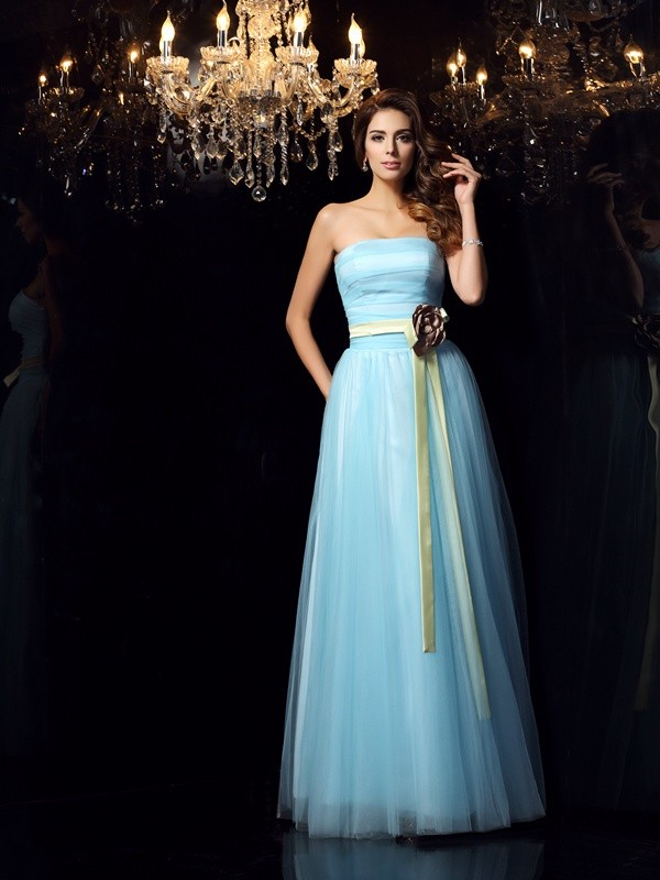 Ball Gown Satin Strapless Sleeveless Floor-Length With Sash/Ribbon/Belt Quinceanera Dresses