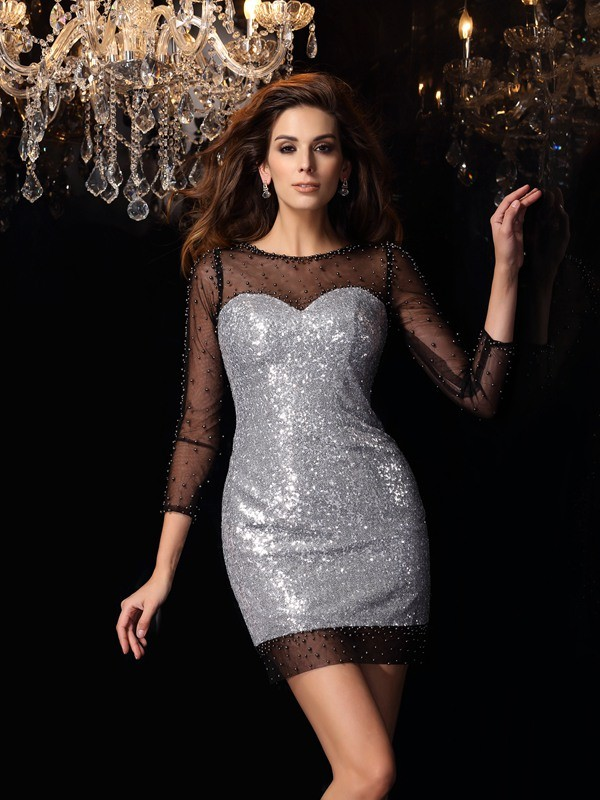 Sheath Sequins Scoop 3/4 Sleeves Short/Mini With Beading Dresses