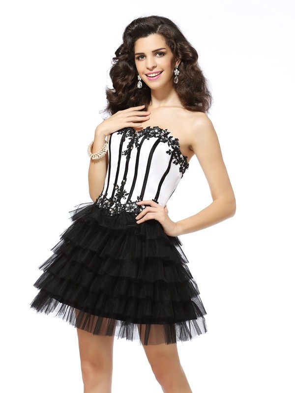 A-Line Tulle Sweetheart Sleeveless Short/Mini With Applique Dresses