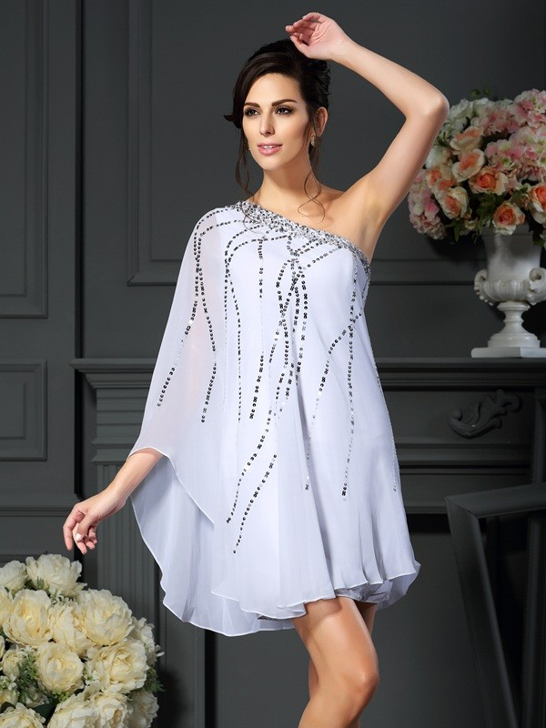 54554a6e518 A-Line Chiffon One-Shoulder Sleeveless Short Mini With Sequin Mother of the